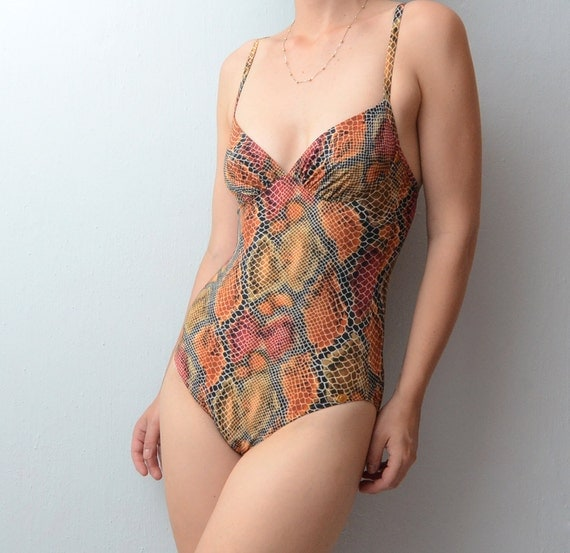 Vintage snakeskin print one piece swimsuit