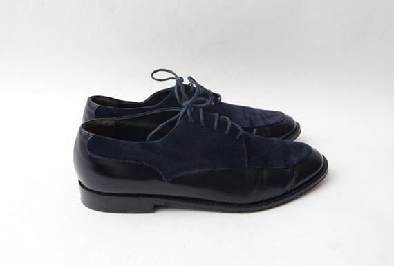 Vintage black and blue flat lace ups