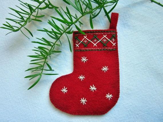 Mini Felt Christmas Stocking Embroidery Kit Makes 3 By