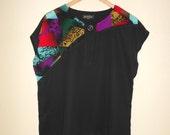 80s Black Sheer Asymmetrical Colorful Printed Top S-L