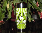 Lime Green Personalized Embroidered Stainless Steel Travel Coffee Tumbler