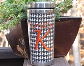 Houndstooth Personalized Stainless Steel Travel Coffee Tumbler