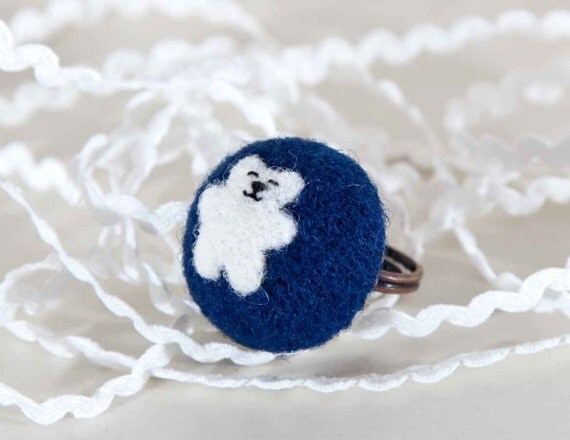 Ring, Felted Jewelry, Little Bear, White