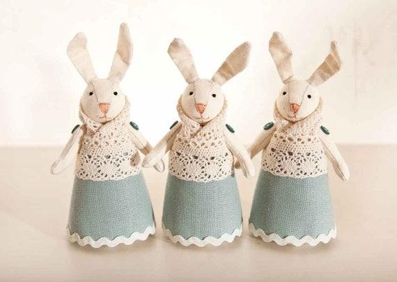 Set of 3. Rabbits handmade. Home Decor. Art. Decorative Toys For Room, Child's Room Decoration