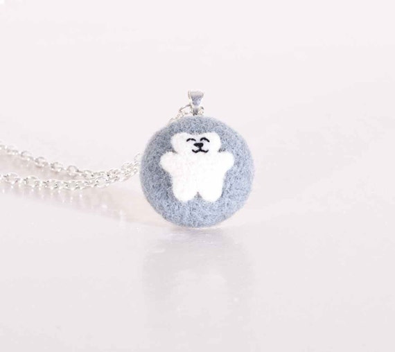 Felted Jewelry, Little Bear, White Bear, Gray and White, Necklace Pendant