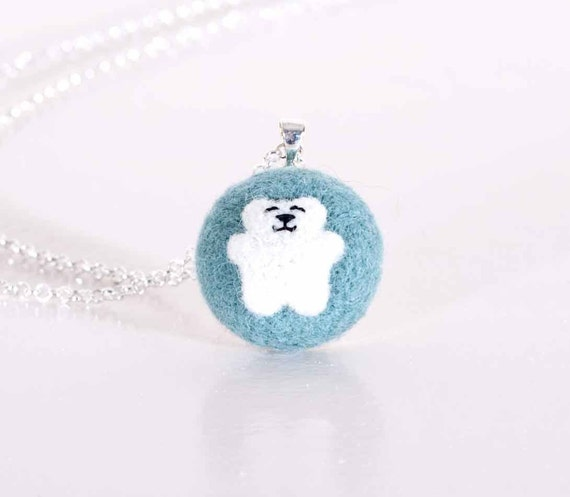 Blue Pendant, Felted Jewelry, Blue Necklace- Blue, Turquoise. Little bear, white bear.