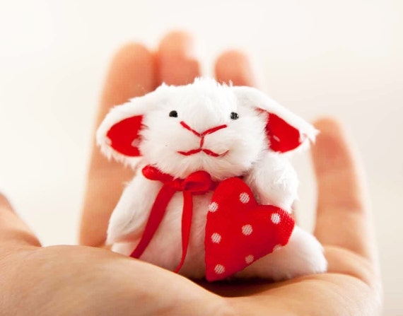 Easter Bunny with a heart in a gift box