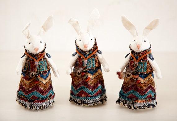 Set of 3. Rabbits handmade. Home Decor. Art. Decorative Toys For Room
