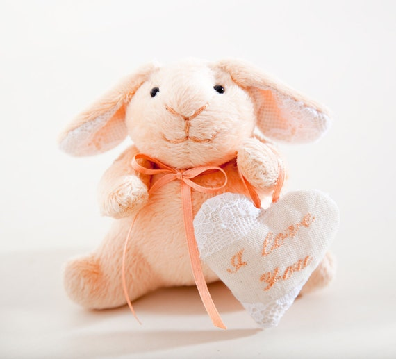 Easter Bunny rabbit handmade with a heart in a gift box, Child's Room Decoration