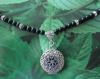 Aromatherapy locket on black, ivory, white or silver glass pearls & crystals necklace+FREE Orange Es oil and Felt Ornament/car air freshen
