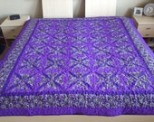 Purple and Green Queen Size Quilt