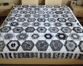 Black and White Hexagon with Piano Keys Border Queen Size Quilt