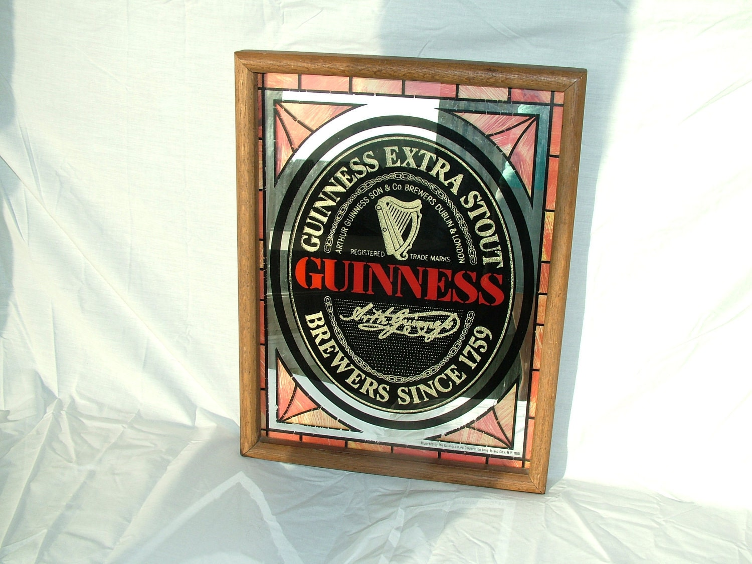 Vintage Guinness Stout Beer Stained Glass Mirror By