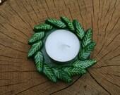 Green Leaf Wreath Tealight Holder / Small Dish