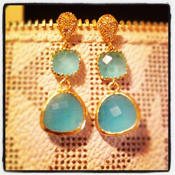 Isabella Earrings - Gold Plated Green Opal