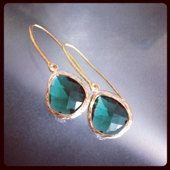 Madison Earrings - Gold Framed Emerald