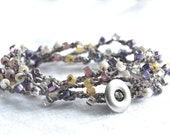 "Bohemian surfer crochet wrap bracelet ""shades of purple, sand and pearly cream"", shabby chic boho 5x wrap bracelet"