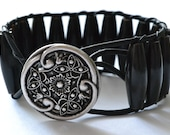 "Bohemian flair, single wrap leather cuff bracelet ""Black Wood"", beachy, boho chic, bohemian cuff bracelet"