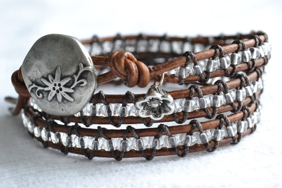 Clear beaded triple wrap distressed brown leather bracelet, shabby chic