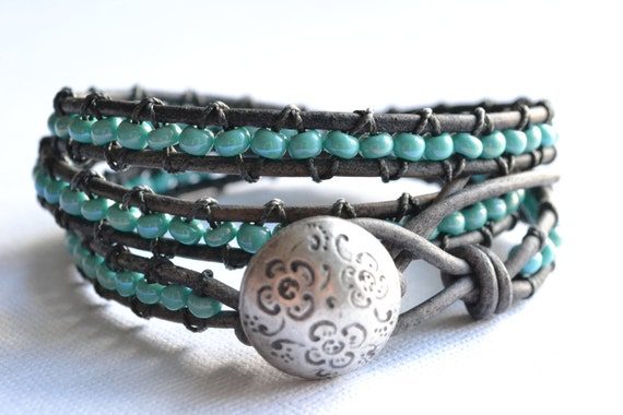 "Beachy ""Turquoise"" beaded triple wrap gray leather bracelet, shabby chic"