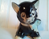 """Vintage Shawnee """"Blackie"""" and White Cat Planter with Blue Ribbon"""
