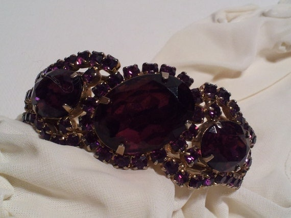 RESERVED FOR LESLIE Vintage Silver Tone Purple Rhinestone Bracelet