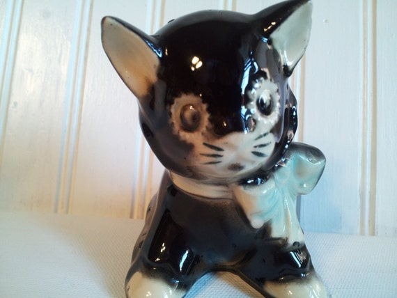 "Vintage Shawnee ""Blackie"" and White Cat Planter with Blue Ribbon"