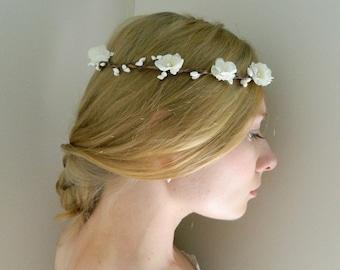 Woodland Flower Crown ' Renee' - White Pearl - Bride - Flower girl - Rustic Weddings