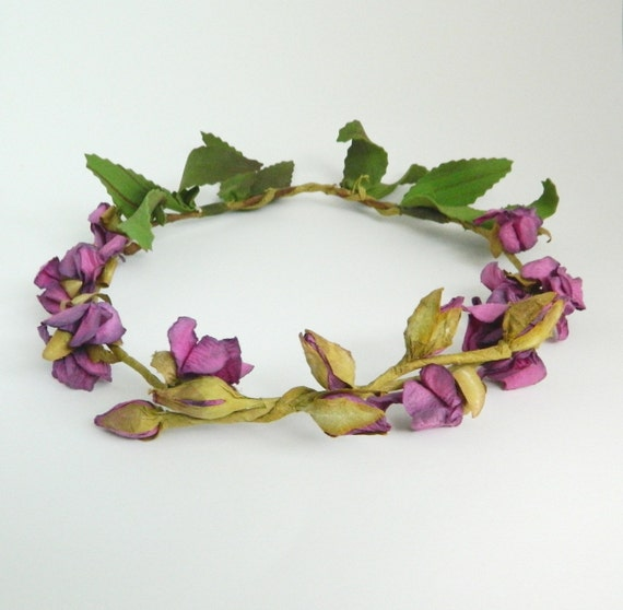 Rosine - Woodland Flower Crown - Rose Pink Purple - Bride - Flower girl - Weddings