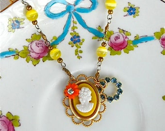 Children's Cameo Necklace Yellow Orange Aqua Blue Beaded Rhinestone Vintage Wedding Flower Girl Necklace - Cameo Appearance Necklace
