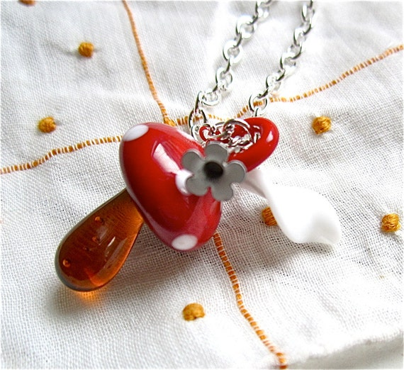 Girls Mushroom Necklace Red & White Fairy Flower - If I Were A Fairy Necklace