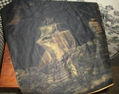 RESERVED for Larissa - Very Old Delicately Handpainted SILK SHIP Dresser Scarf lined in Gold Silk