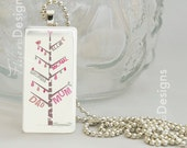Personalised Soft Pinks Family Tree - Rectangle Glass Tile Pendant