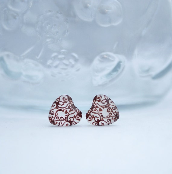 Glass Heart Earrings with Sterling Silver Studs - Brown, Swirl and Heart Design
