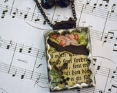 """Vintage VICTORIAN NECKLACE OOAK Soldered Silver Glass """"Forgotten Heirlooms""""  Double Shadow Box Locket Rhinestones Roses Found Items"""