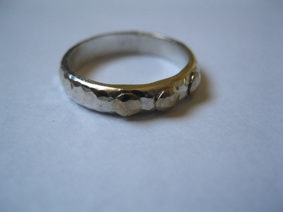 Silver & Gold Wedding Bands, Hammered Wedding Bands, Mens or Womens Thick Wedding Bands or Thumb Rings
