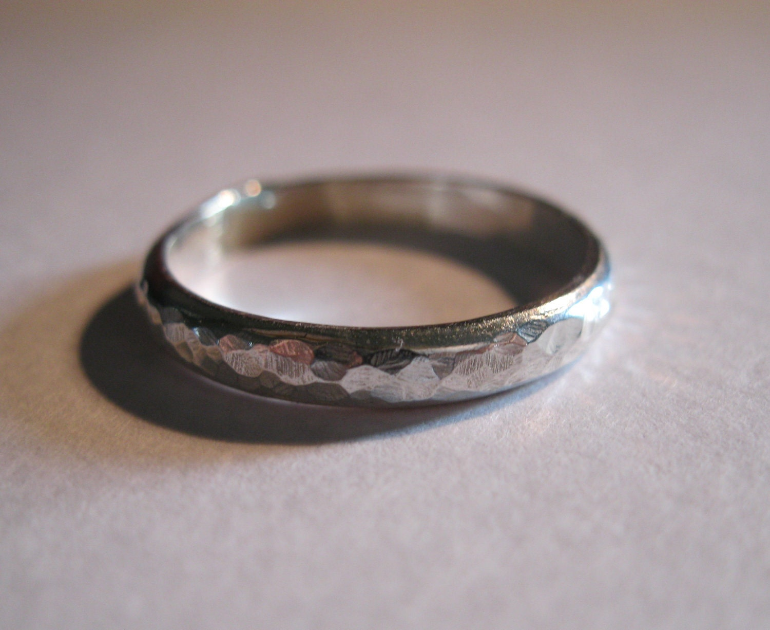 size 4 hammered wedding bands silver wedding by bmstudiosilver