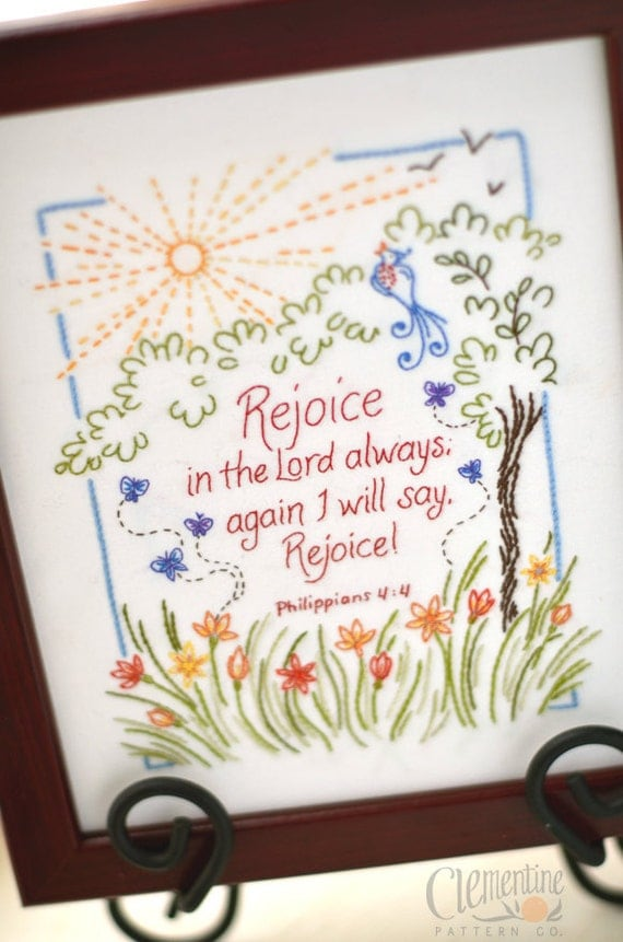Rejoice in the Lord - 100% Cotton Embroidery Pattern