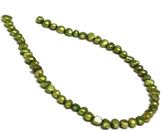 Pearl, cultured freshwater (dyed), Grassgreen, 6-7mm Baroque Pearl. Sold per 14.5-inch strand.