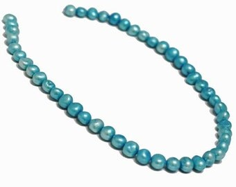 Pearl, cultured freshwater (dyed), Blue, 8-9mm Baroque Pearl. Sold per 14.5-inch strand.