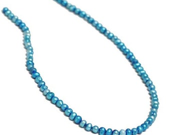 Pearl, cultured freshwater (Dyed), Blue, 5-6mm potato. Sold per 14.5 inch strand.
