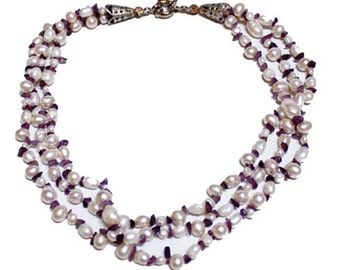 Pearl Necklace- Three row Pearl and Amethyst necklace- FREE SHIPPING