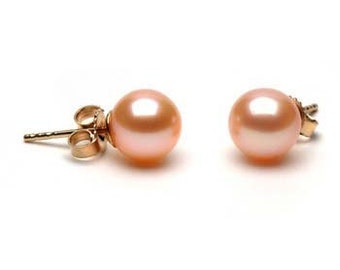 14k Pearl Earring- 8-9mm AAA -Lavender- Special Selected with best of best- FREE SHIPPING
