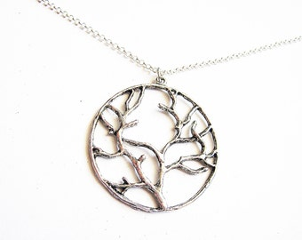 Tree of Life Necklace, Silver Tree of Life pendant on silver Chain, Tree of Life Jewelry, Big Tree of Life Necklace, Long Necklace