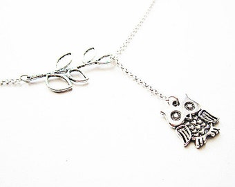 Owl Lariat Necklace, Silver Owl Necklace, Owl Jewelry, Leaf Owl Necklace, Owl on a Branch Necklace, Y necklace, Owl charm Necklace Jewelry