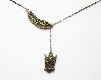 Brass Owl Necklace, Feather Necklace, Animal Necklace, Owl Jewelry Necklace, Angel Wing Pendant, Owl Charm Necklace