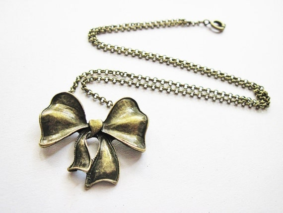 Bow Necklace, bow tie necklace, metal necklace, bowtie necklace, bow jewelry, pretty necklace, short necklace, antique bronze bow necklace