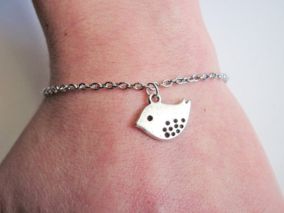 Bird Bracelet, Silver Bracelet, Charm Bracelet, Antique Silver Bracelet, Custom Bracelet, Simple, Clean, Minimal, Lovebird Bracelet