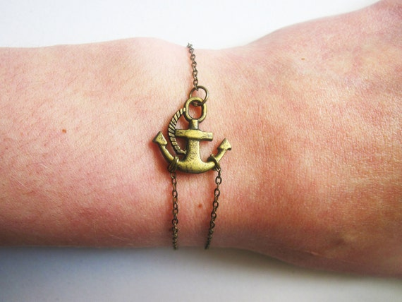 Sideways Anchor Bracelet, Antique Bronze Bracelet, Anchor Jewelry, Anchor Brass Bracelet, Anchor charm on chain, double chain, handmade