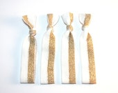Holiday - Sleigh Bell Set - Gold & Off-White - Elastic Hair Ties - Bracelets - Set of 4